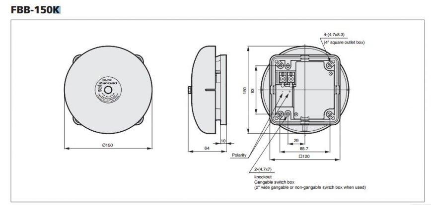 Chuông báo cháy Hochiki tiêu chuẩn UL FBB-150K