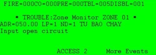 Input open circuit: Đứt dây, thiếu điện trở cuối trên modul FRCME, FRCMA, CZM