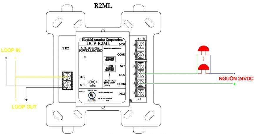 Hướng dẫn lắp đặt module relay 2 ngõ ra riêng biệt Hochiki DCP-R2ML
